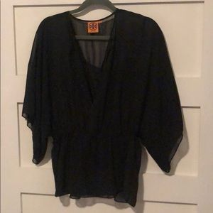 Tory Burch black blouse Sz 4